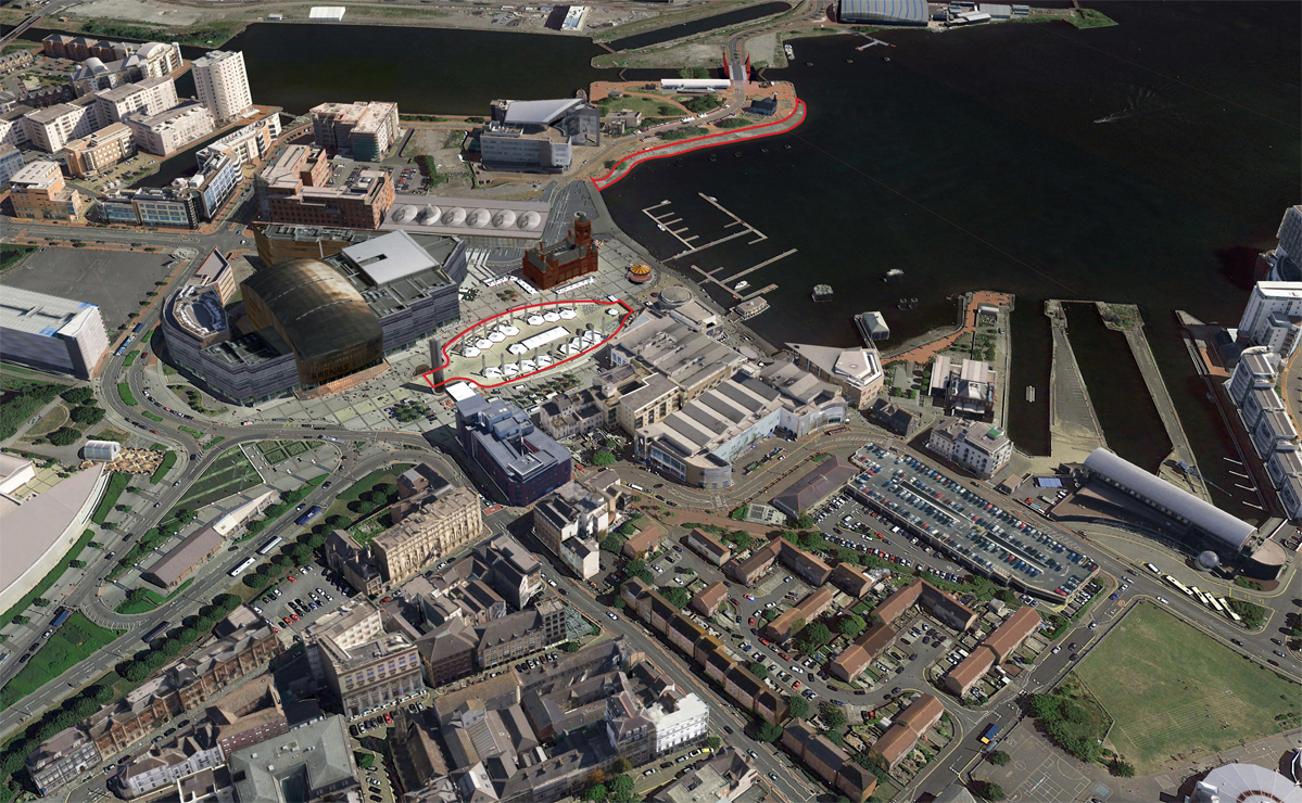 Cardiff Bay Beach and Lido Aerial red line 2- 740