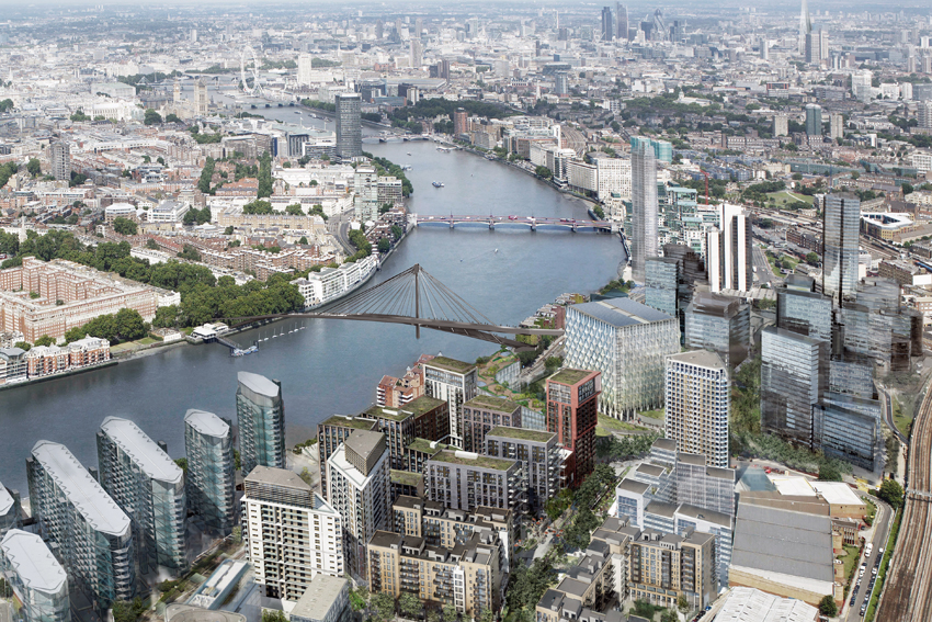 Nine Elms Pedestrian Bridge, London. Competition Entry