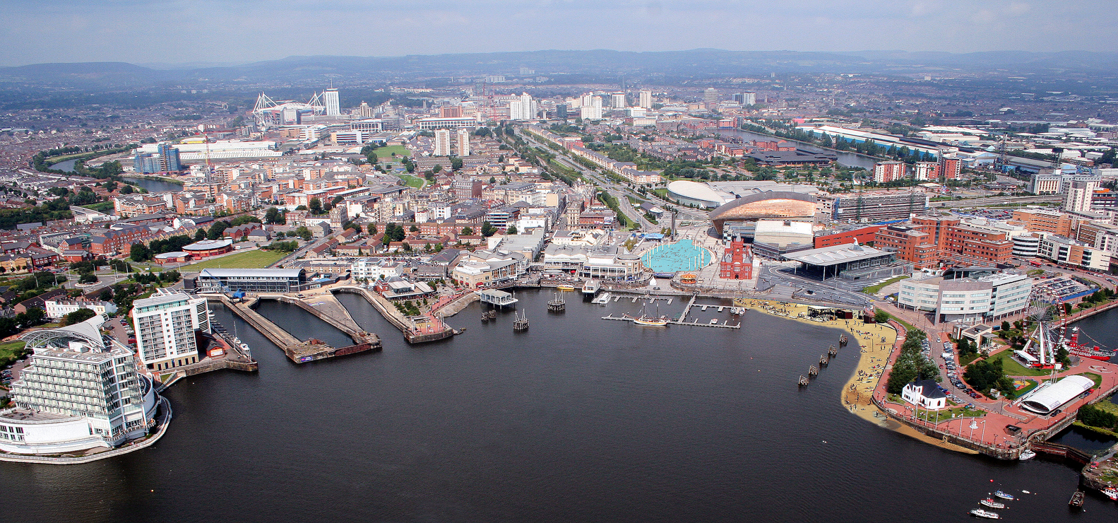 Cardiff-Bay-Beach-and-Lido-Aerial-